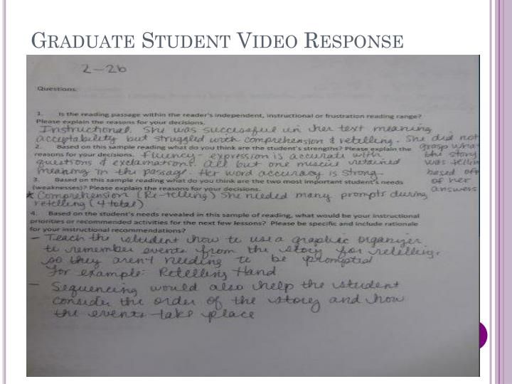 Graduate Student Video Response