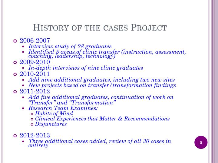 History of the cases Project