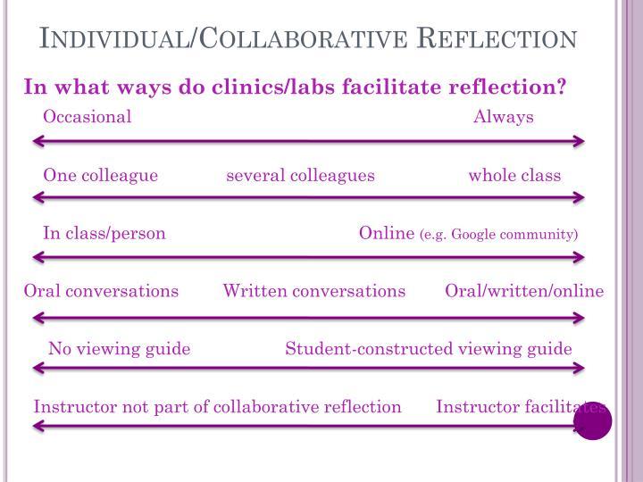 Individual/Collaborative Reflection