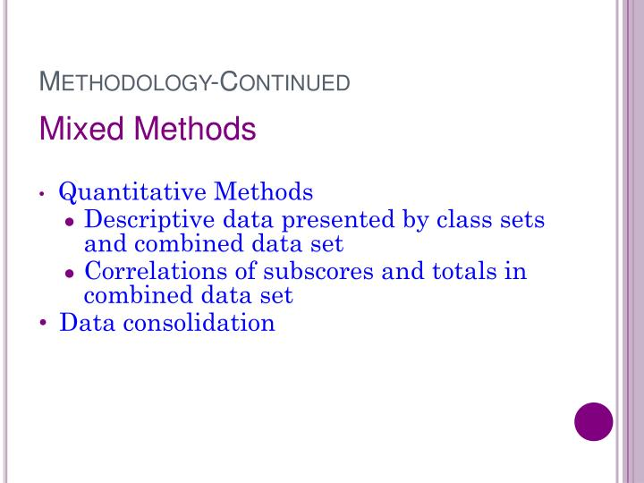 Methodology-Continued