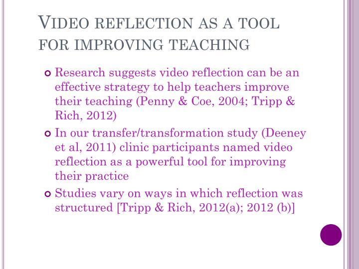 Video reflection as a tool for improving teaching