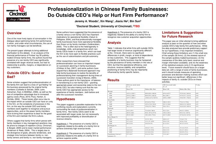 professionalization in chinese family businesses do outside ceo s help or hurt firm performance n.