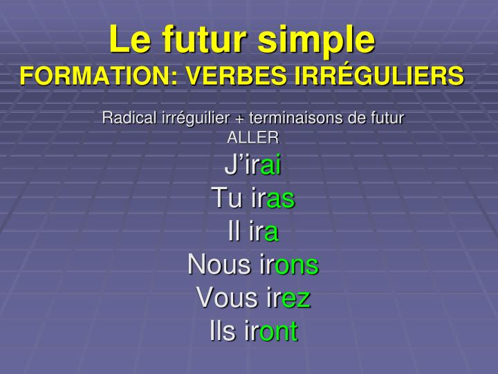 Le futur simple formation verbes irr guliers