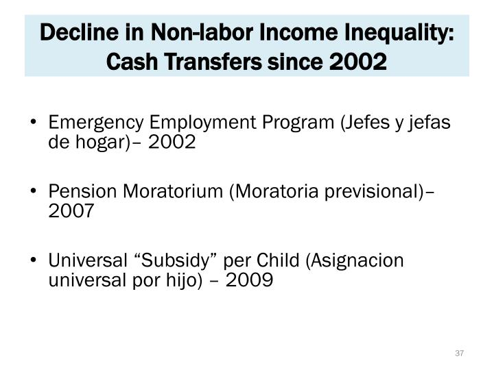 Decline in Non-labor Income Inequality: Cash Transfers since 2002