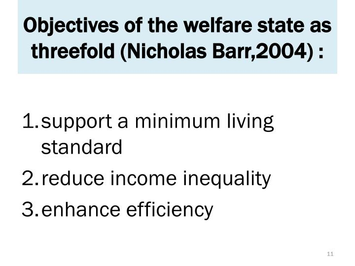 Objectives of the welfare state as threefold (Nicholas Barr,2004) :
