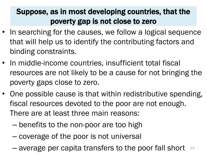 Suppose, as in most developing countries, that the poverty gap is not close to zero