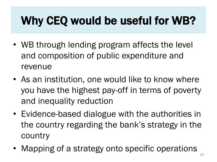 Why CEQ would be useful for WB?