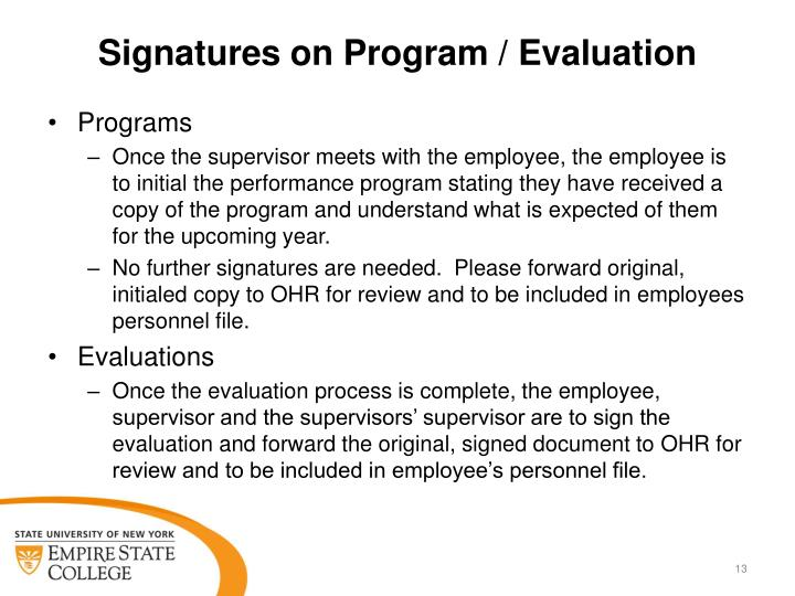 Signatures on Program / Evaluation