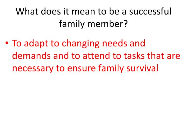 What does it mean to be a successful family member?