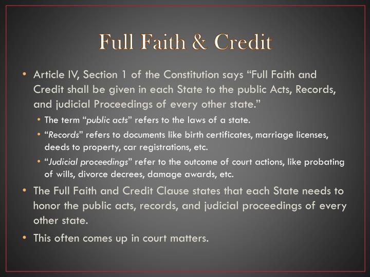 Full Faith & Credit