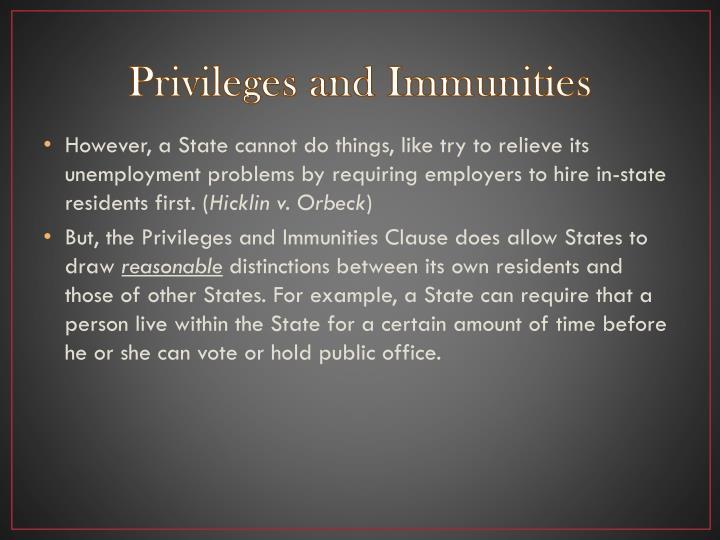 Privileges and Immunities