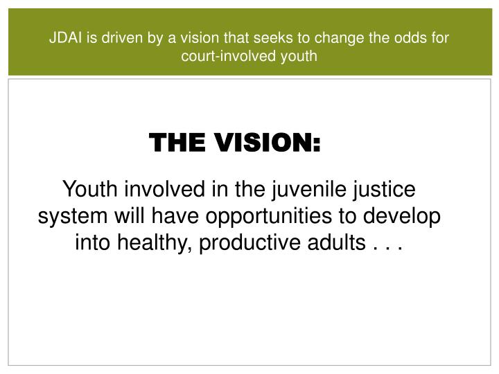 JDAI is driven by a vision that seeks to change the odds for court-involved youth