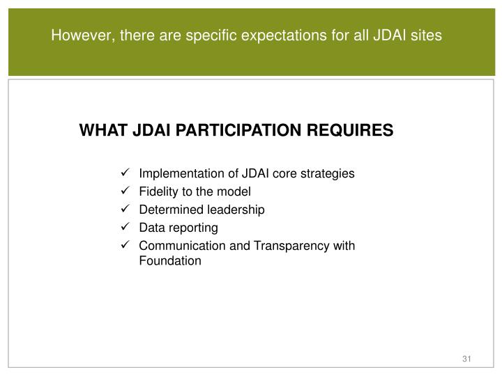 However, there are specific expectations for all JDAI sites