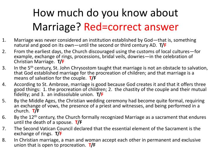 How much do you know about marriage red correct answer