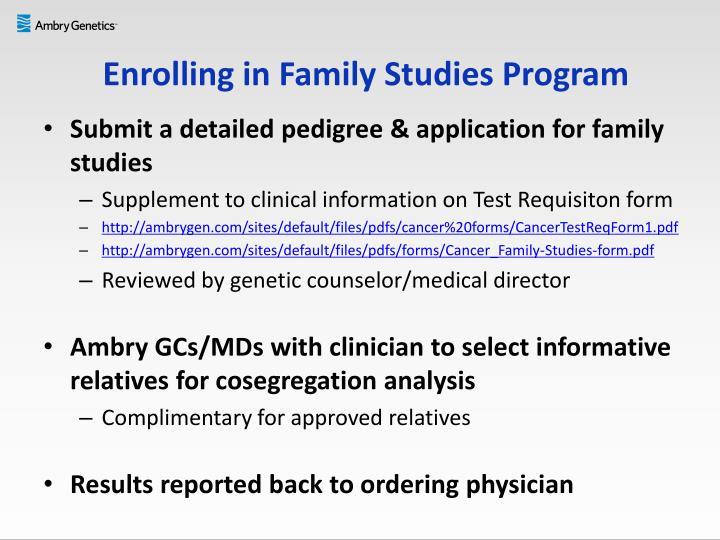 Enrolling in Family Studies Program