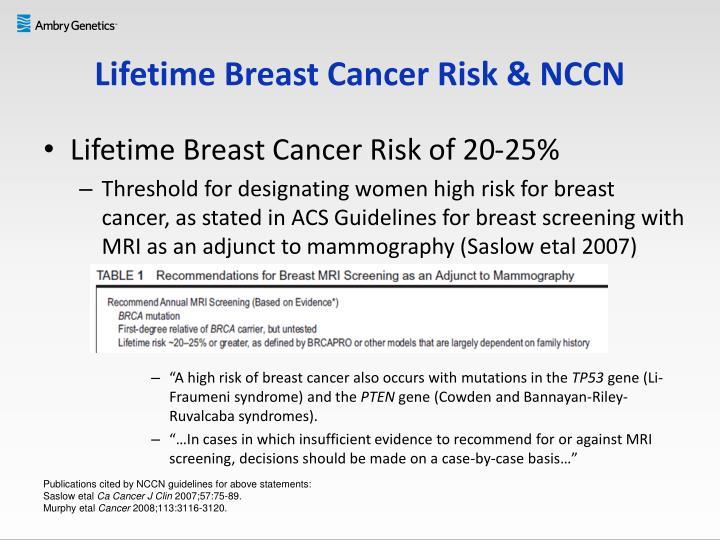 Lifetime Breast Cancer Risk & NCCN