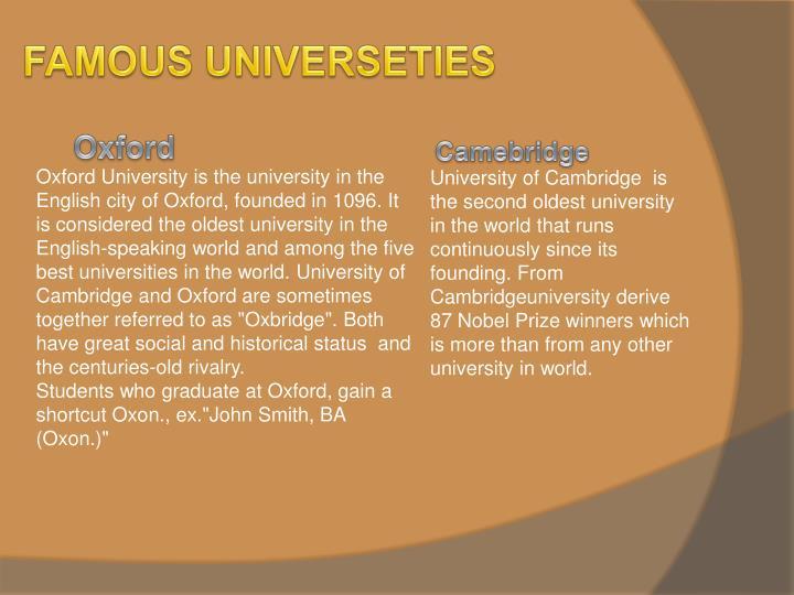 FAMOUS UNIVERSETIES