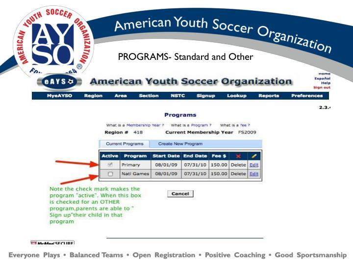 PROGRAMS- Standard and Other