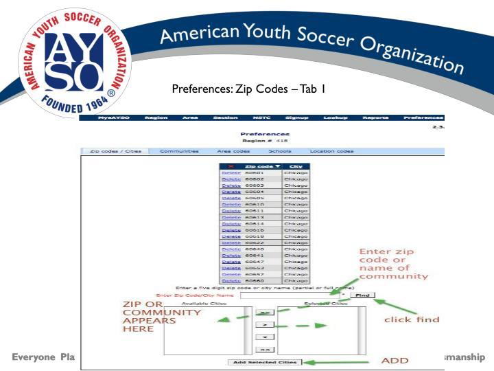 Preferences: Zip Codes – Tab 1