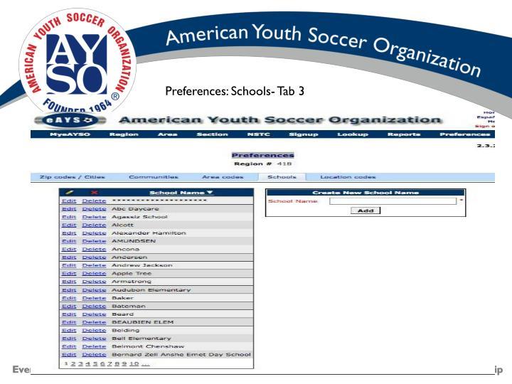 Preferences: Schools- Tab 3