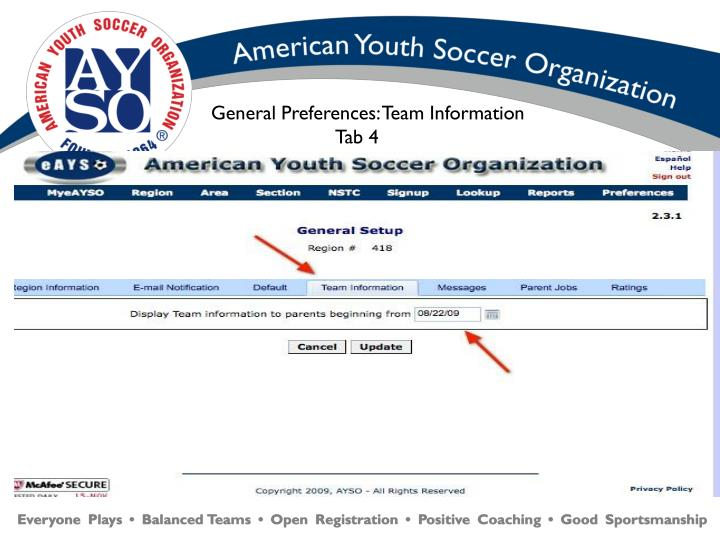 General Preferences: Team Information    Tab 4