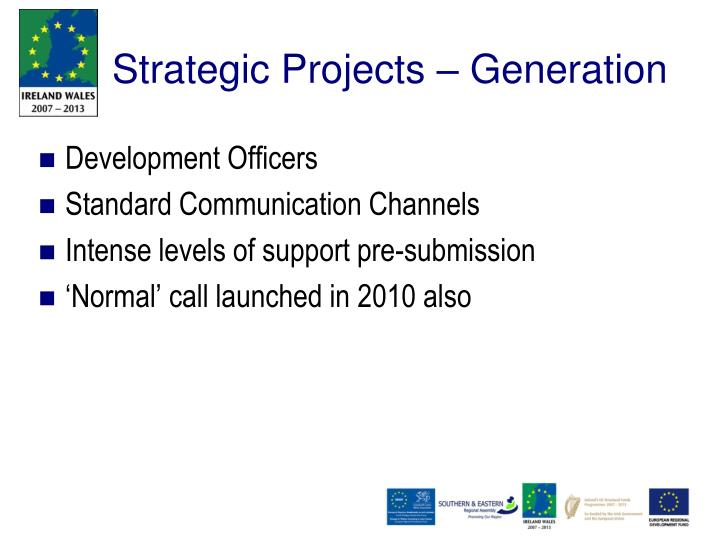 Strategic Projects – Generation
