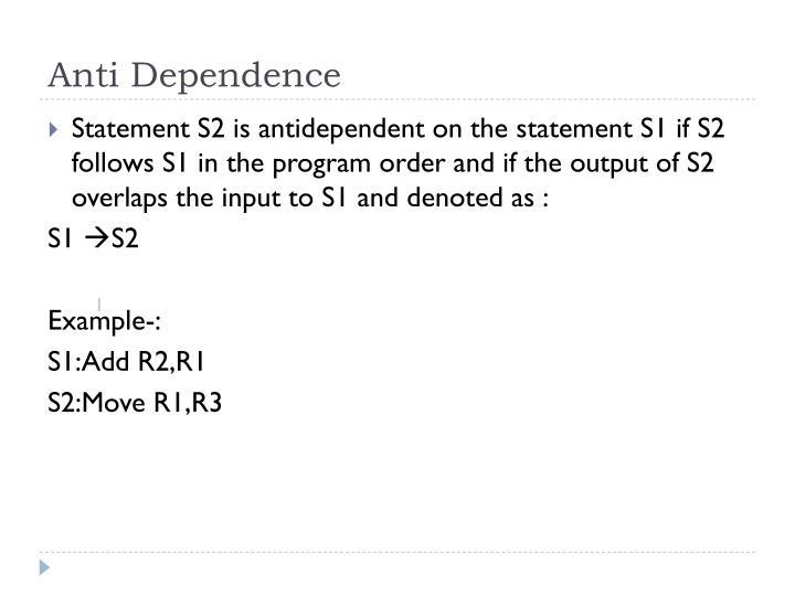 Anti Dependence