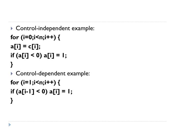 Control-independent example: