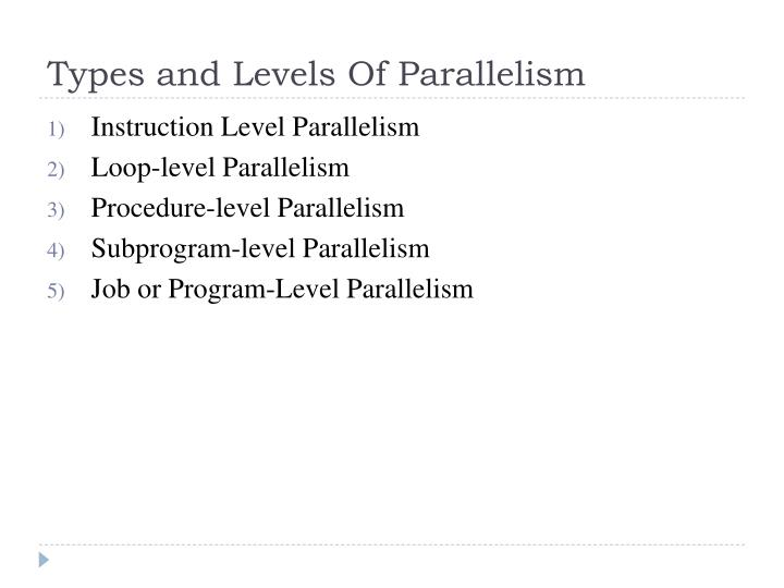 Types and levels of parallelism