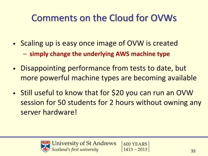 Comments on the Cloud for OVWs
