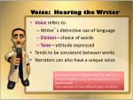 voice hearing the writer