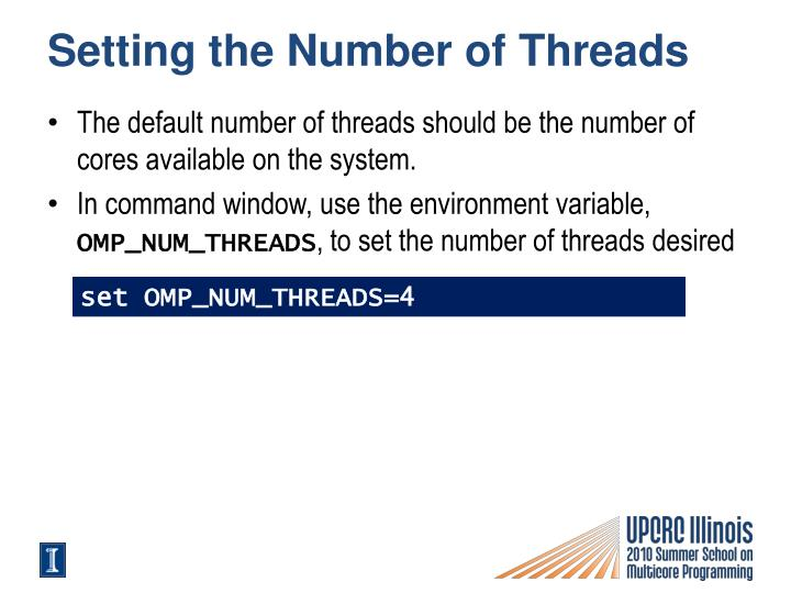 Setting the number of threads