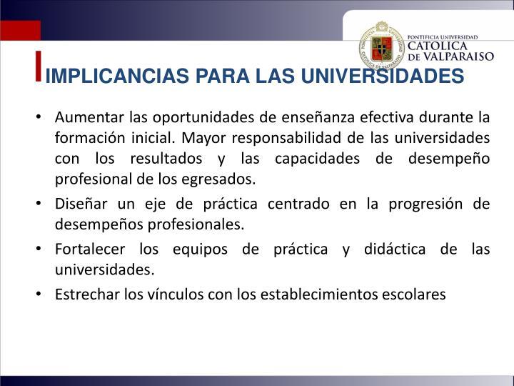 IMPLICANCIAS PARA LAS UNIVERSIDADES