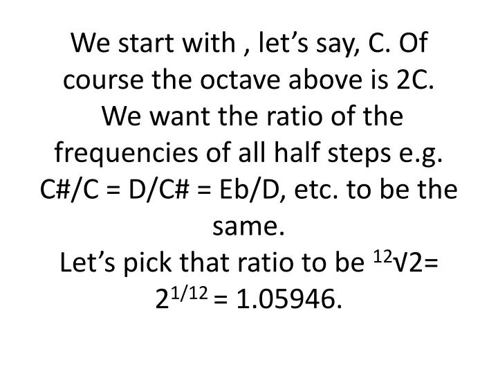 We start with , let's say, C. Of course the octave above is 2C.
