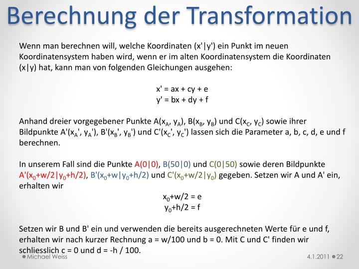Berechnung der Transformation