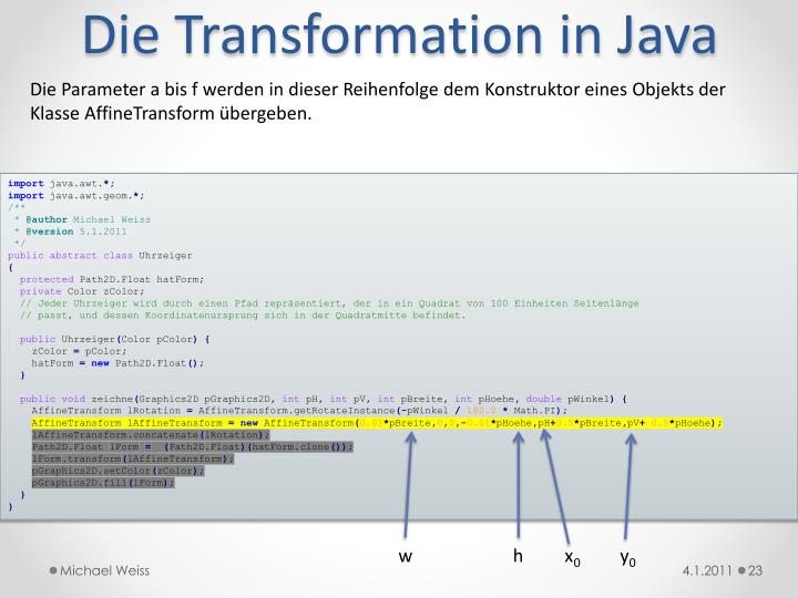 Die Transformation in Java