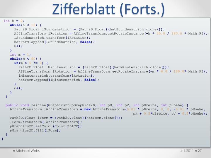 Zifferblatt (Forts.)