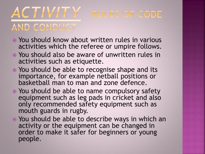 Activity rules of code and conduct