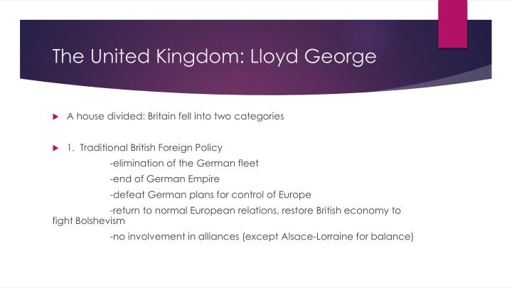 The United Kingdom: Lloyd George