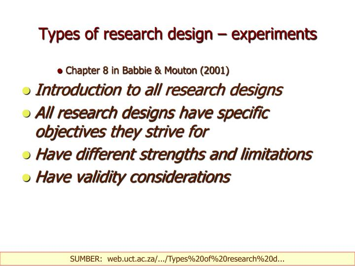 types of research design experiments n.