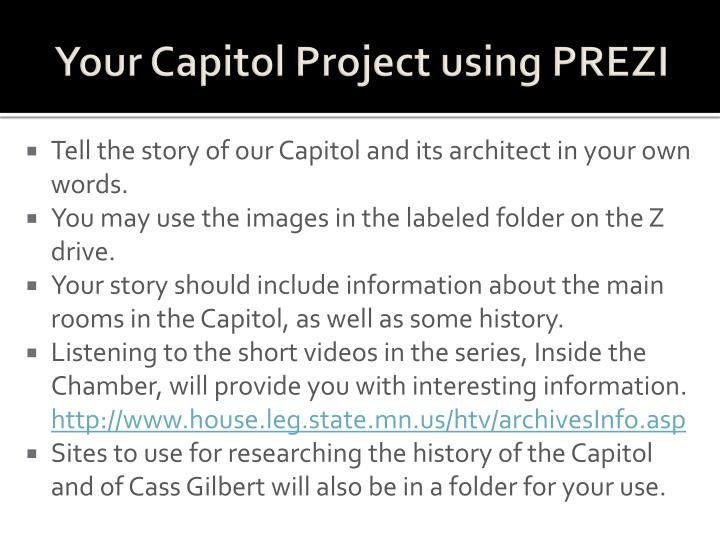 Your Capitol Project using PREZI