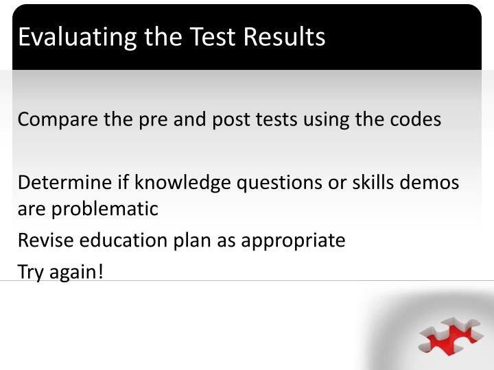 Evaluating the Test Results