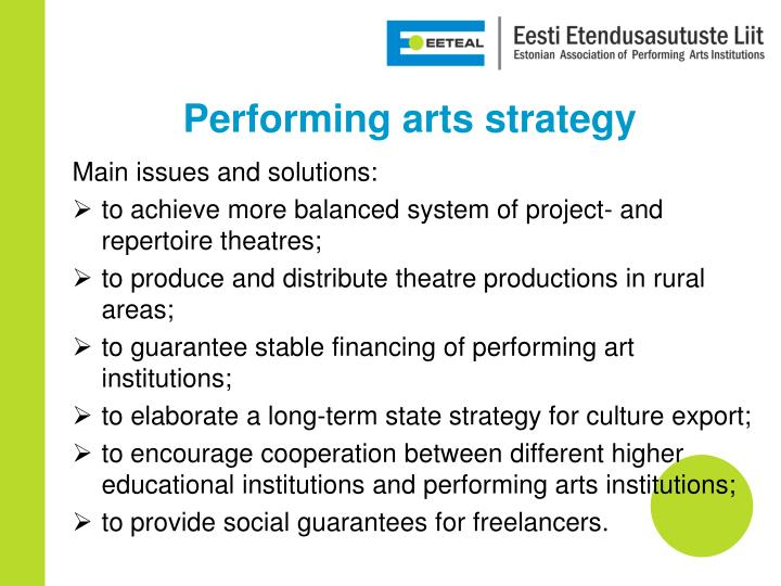 Performing arts strategy
