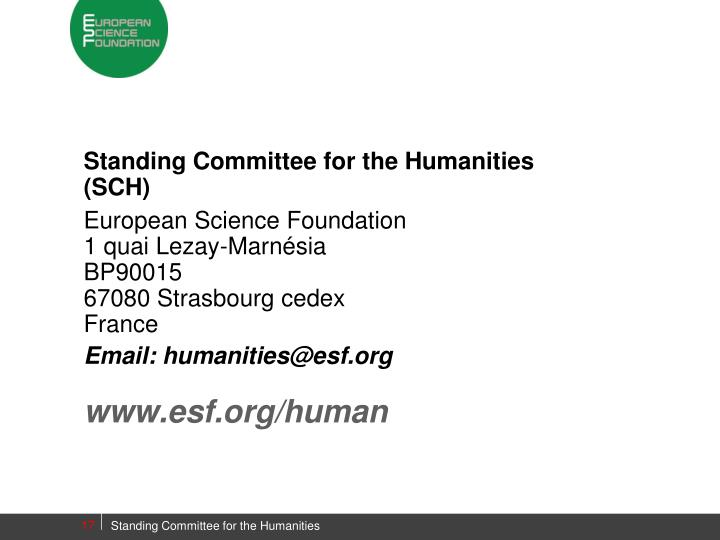 Standing Committee for the Humanities (SCH)