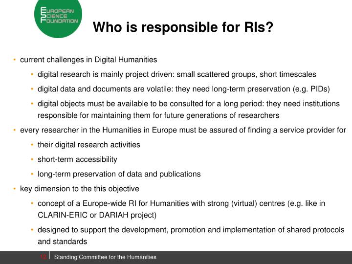 Who is responsible for RIs?