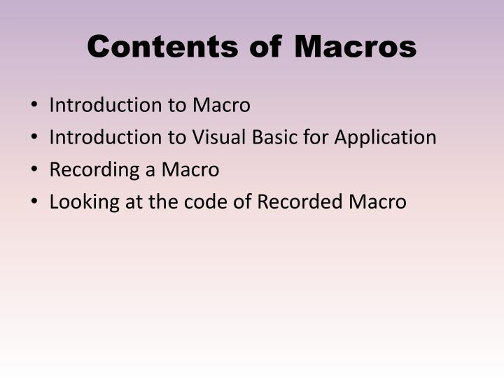 Contents of Macros