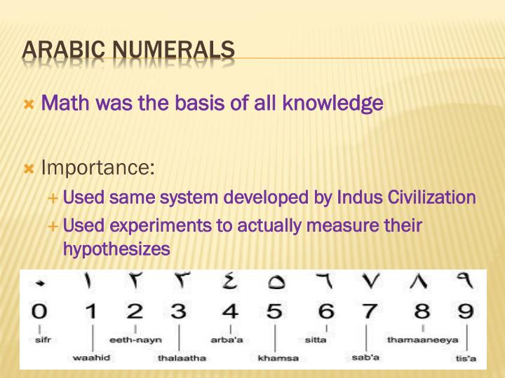 Math was the basis of all knowledge