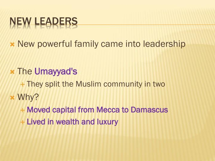 New powerful family came into leadership