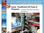 issue insufficient air flow or pressure