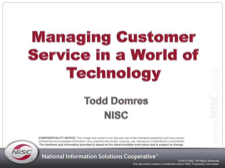 managing customer service in a world of technology n.
